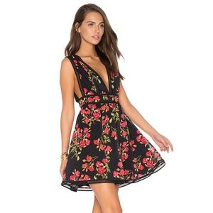 NBD Isaac Floral Plunge Mini V-neck Party Dress